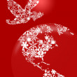 Christmas Peace Dove On Earth Red Background — Stock Photo