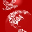 Stock Photo: Christmas Peace Dove On Earth Red Background