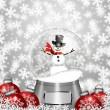 Stock Photo: Snow Globe Snowman and Christmas Tree Ornaments