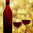 Red Wine Bottle and Two Glasses  with Blurred Background Illustr — Stock fotografie