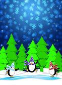 企鹅滑冰溜冰场冬季下雪场景蓝色 illustrat — 图库照片