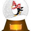 Water Snow Globe with Penguin Ice Skating Illustration — Stock Photo