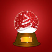 Water Snow Globe with Christmas Tree Sparkles Red — Стоковое фото