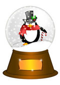 Water Snow Globe with Penguin and Candy Cane Illustration — Stock Photo