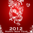 2012 Chinese Year of the Dragon Snowflakes Red Background — Stock Photo #8110558