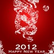 Stock Photo: 2012 Chinese Year of the Dragon Snowflakes Red Background