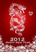 2012 Chinese Year of the Dragon Snowflakes Red Background — Stock Photo