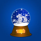 Water Snow Globe with Chinese Dragon Blue — Stock Photo