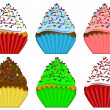 Six Variety Cupcakes with Sprinkles Illustration — Stock Photo #8164940