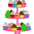 Stock Photo: Cupcakes on Three Tier Cake Stand Illustration