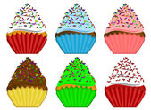 Six Variety Cupcakes with Sprinkles Illustration — Stock Photo
