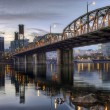 Hawthorne Bridge Across Willamette River by Portland Oregon Wate -  