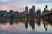 Portland Oregon Downtown Waterfront Skyline at Sunset — Stock Photo