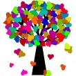 Colorful Valentines Day Hearts on Tree Illustration — Stock Photo