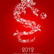 2012 Flying Chinese Snowflakes Pattern Dragon with Ball — Stock Photo