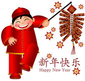 Chinese Boy Holding Firecrackers Text Wishing Happy New Year — Stock Photo