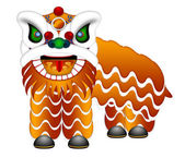 Chinese Lion Dance Full Body Illustration — Stock Photo