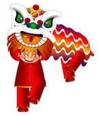 Chinese Lion Dance by Chinese Boys Illustration — Stock Photo