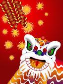 Chinesische löwen tanzen kopf mit feuerwerkskörpern illustration — Stockfoto