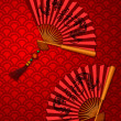 Chinese New Year Dragon Fans on Scales Pattern Background — Stock Photo #8301470