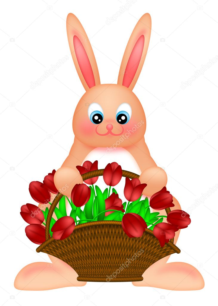 Happy Easter Bunny Rabbit Holding a Basket of Red Tulips Flowers Illustration Isolated on White Background — Stock Photo #8353608
