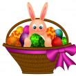 Happy Easter Bunny Rabbit in Egg Basket Illustration — Stock Photo
