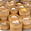 Steamed Dim Sum in Bamboo Trays — Stock Photo
