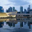 Reflection of Singapore City Skyline at Blue Hour — Stock Photo