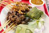 Chicken and Lamb Satay Skewers with Ketupat Rice — Stock Photo