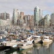 Vancouver BC City Skyline with Burrard and Granville Bridges — Stock Photo #9076233