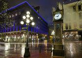 Gastown Steam Clock on a Rainy Night — Stock Photo