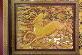 Madera tallada qilin de la muralla del templo chino — Foto de Stock