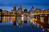 Portland Downtown City Skyline at Twilight — Stock Photo