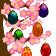 Flowering Cherry Blossom Tree with Easter Eggs — Stock Photo #9342248