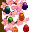 Flowering Cherry Blossom Tree with Easter Eggs — Stock Photo