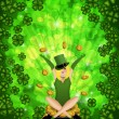 Girl Leprechaun Shamrock Four Leaf Clover Background — Stock Photo