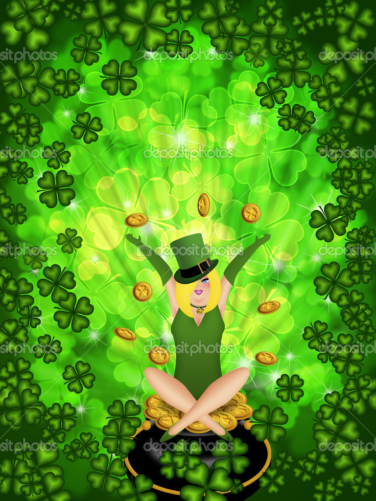 4 leaf clover and leprechauns