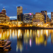 Stock Photo: Portland Oregon Downtown Waterfront at Blue Hour