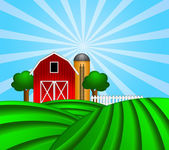 Red Barn with Grain Silo on Green Pasture Illustration — Stock Photo