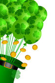 Leprechaun Hat with Shamrock Balloons and Gold Coins — Stock Photo