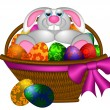 Cute Easter Bunny Rabbit Laying in Egg Basket Illustration — Stock Photo