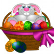 Royalty-Free Stock Photo: Cute Easter Bunny Rabbit Laying in Egg Basket Illustration