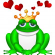 Cute Green Frog with Crown Illustration — Stock Photo