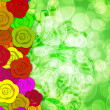 Colorful Roses Border with Blurred Background — Zdjęcie stockowe