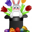 Easter Day Bunny in Magician Hat — Stock Photo #9663145