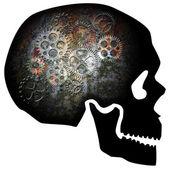Cráneo con ilustración de engranajes oxidados — Foto de Stock