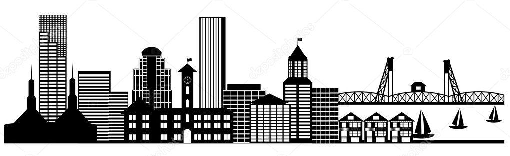 Portland city skyline panorama clip art stock image