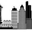 Seattle City Skyline Panorama Clip Art — Stock Photo