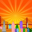 San Francisco City Skyline Panorama — Stock Photo