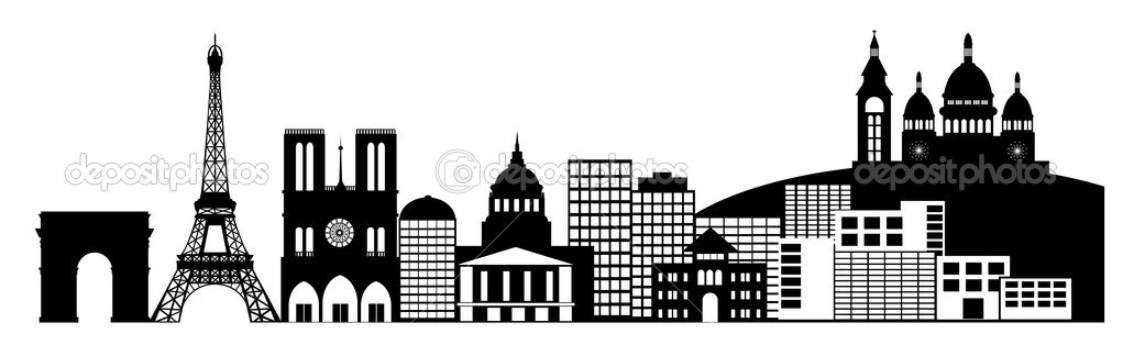 Paris france city skyline panorama clip art stock image
